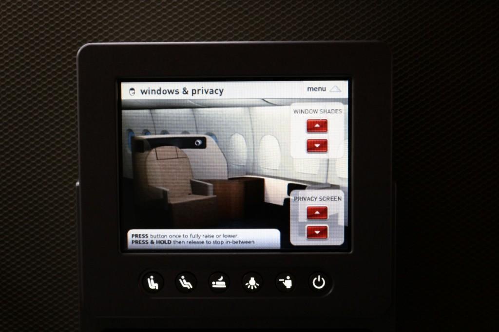 Qantas A380 First Class Seat Controls